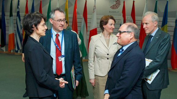 From left to right: Ms Marianne Thyssen, Commissioner for Employment, Social Affairs, Skills and Labour Mobility; Ms Mārīte Seile, Latvian Minister for Education and Science; Mr Servoz Michel, Director General; Mr Joachim James Calleja, Director of CEDEFOP. Photo: EU2015.LV