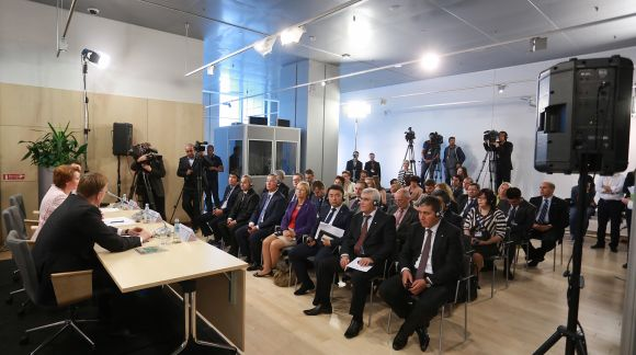 Press conference following the First Meeting of EU and Central Asian Ministers for Education. Photo: EU2015.LV